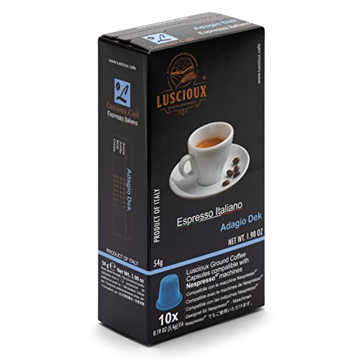 LUSCIOUX Adagio DEK - Nespresso Compatible Coffee Capsules | Pack of 10 [Total 100 capsules]: Amazon.com: Grocery & Gourmet Food