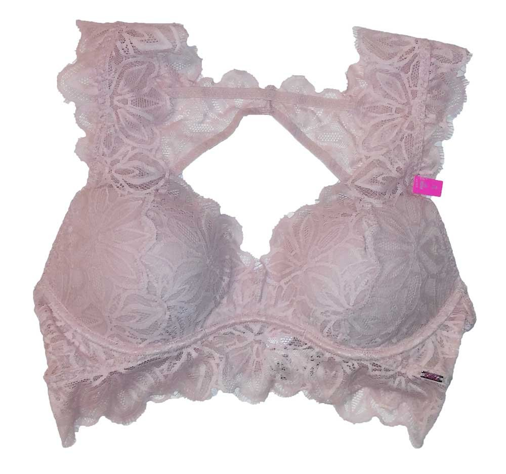 Victoria's Secret Pink Date Lace Bralette Push-Up Light Pink S