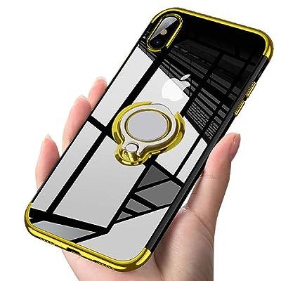 Alsoar Transparente Silicona Suave TPU Funda Compatible con Huawei Mate 20 Metal Electrochapado Bumper Protección Carcasa 360° Giratorio Anillo Soporte Magnético Automóvil Caso(Dorado): Electrónica