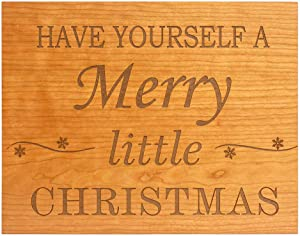 Have Yourself A Merry Little Christmas Sign | Farmhouse Christmas Decor - Wooden, with Honey Wood Stain | Ideal for Primitive or Rustic Christmas Decor Themes | 15 x 11.75 inches | Made in The USA