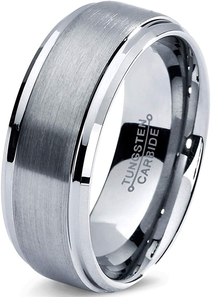 Tungsten Wedding Band Ring 8mm Men Women Comfort Fit Grey Bevel Edge Brushed Polished