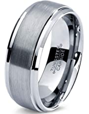 Tungsten Wedding Band Ring 8mm Men Women Comfort Fit Grey Step Bevel Edge Brushed Polished