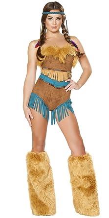 Musotica Sexy Pocahontas Halloween Costume - Honey/Brown - Small  sc 1 st  Amazon.com & Amazon.com: Sexy Pocahontas Halloween Costume: Clothing