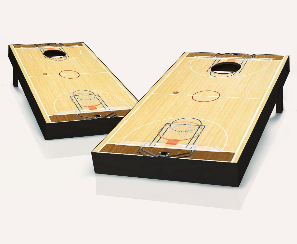 BASKETBALL Full Court Cornhole Boards Regulation Size Game Set Baggo Bean Bag Toss + 8 ACA Regulation Bags