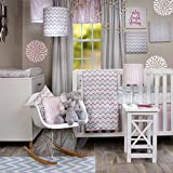 Crib Bedding Set Caitlyn by Glenna Jean | Baby Girl Nursery + Hand Crafted with Premium Quality Fabrics | Includes Quilt, Sheet and Bed Skirt with Pink and Chevron Accents