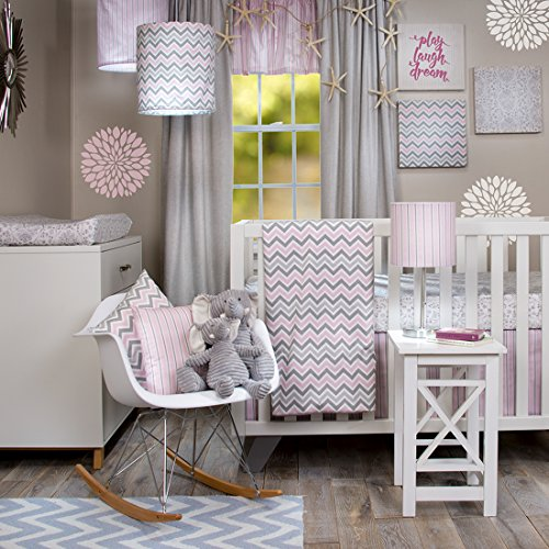 Crib Bedding Set Caitlyn by Glenna Jean | Baby Girl Nursery + Hand Crafted with Premium Quality Fabrics | Includes Quilt, Sheet and Bed Skirt with Pink and Chevron Accents - Glenna Jean Velvet Crib Skirt
