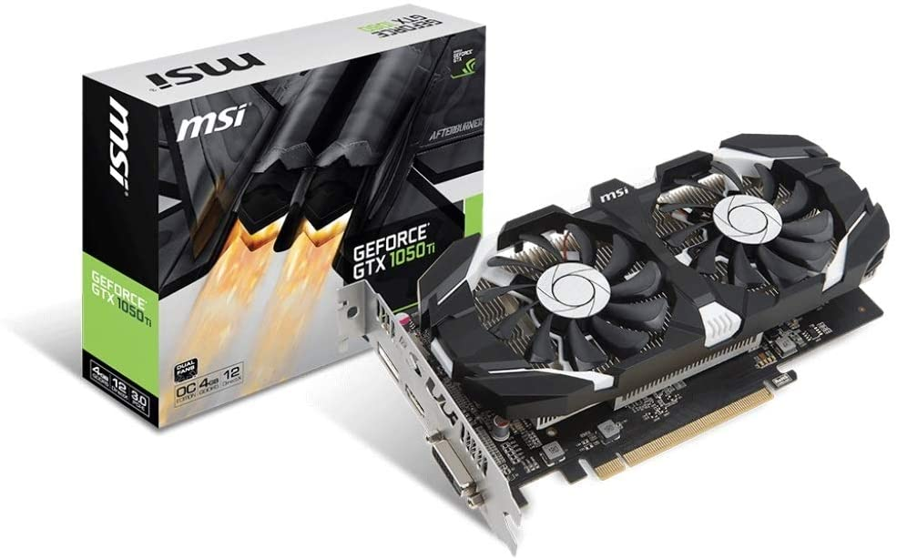 MSI 4GB NVIDIA GeForce GTX 1050 TI OC GDDR5 DVI/HDMI/DisplayPort PCI-Express Video Card