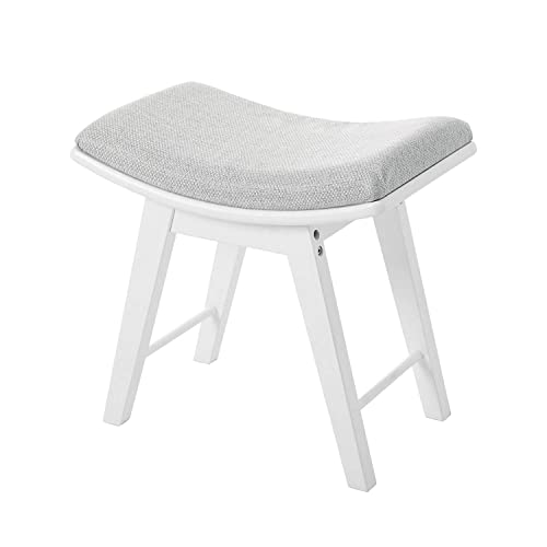 Vanity Stool, Modern Makeup Dressing Stool with Concave Seat Surface, Padded Bench with Rubberwood Legs, Easy Assembly, White