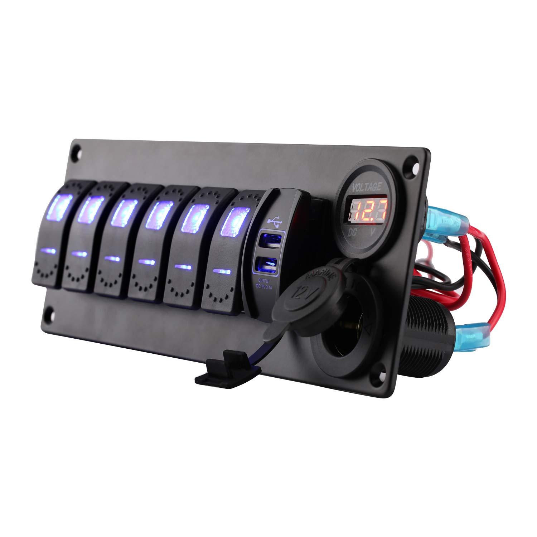 Jiaying Rocker Switch Panel Aluminum Marine Boat Rocker Switch Panel 6 Gang with Dual USB Slot Socket + Cigarette Lighter + Digital Voltage Display LED Light for Car Rv Vehicles Truck