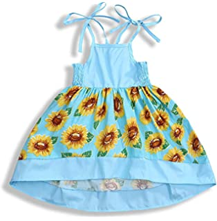 Hstore Fashion Toddler Baby Kids Girls Ribbons Lace Sunflowers Summer Princess Dress