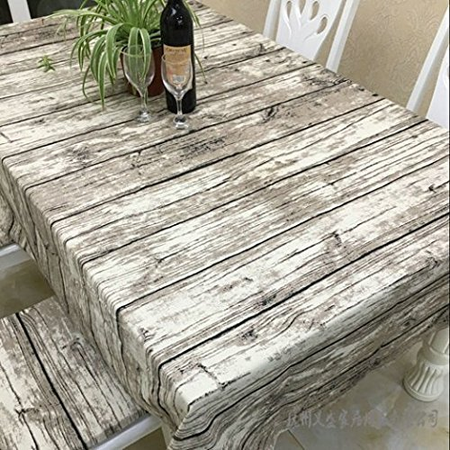 JInsen Vintage Wood Grain Tablecloth,Linen Embroidered Rectangle Washable Dinner Picnic Table Cloth,Assorted Size 140x180 cm (55x72 inch) -