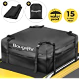 BougeRV Rooftop Cargo Carrier Bag with Protective Mat 15 Cubic Feet Waterproof Car Roof Carrier Bag Roof Top Cargo…