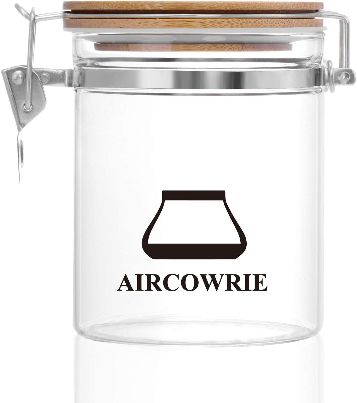 Food Storage Jar, AIRCOWRIE 20.3FL OZ(600ML) High Borosilicate Glass Jars with Airtight Bamboo Lids Locking Clamp, Clear Glass Storage Canister for Coffee Tea Sugar Cookie Spices and More