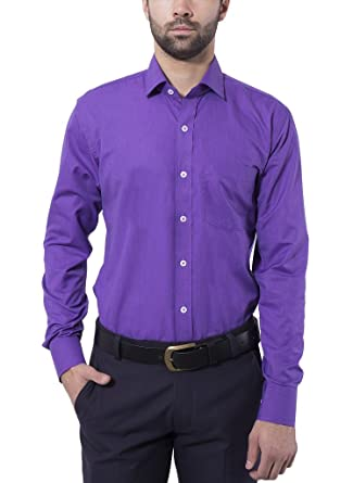 0aee57b0f8d Formal Shirt Violet Color Slim Fit for Men by Tag & Trend: Amazon.in:  Clothing & Accessories