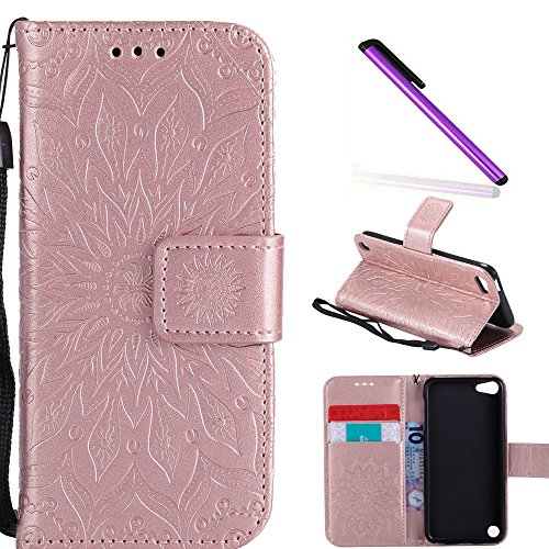 HMTECH iPod Touch 6 case Touch 5 Case 4 Inch Sun Flower Embossed Floral Wallet Case with Card Slots Kickstand PU Leather Flip Stand Cover for iPod Touch 6 iPod Touch 5 KT Mandala Rose Gold (Ipod Touch 4 Case Roses)