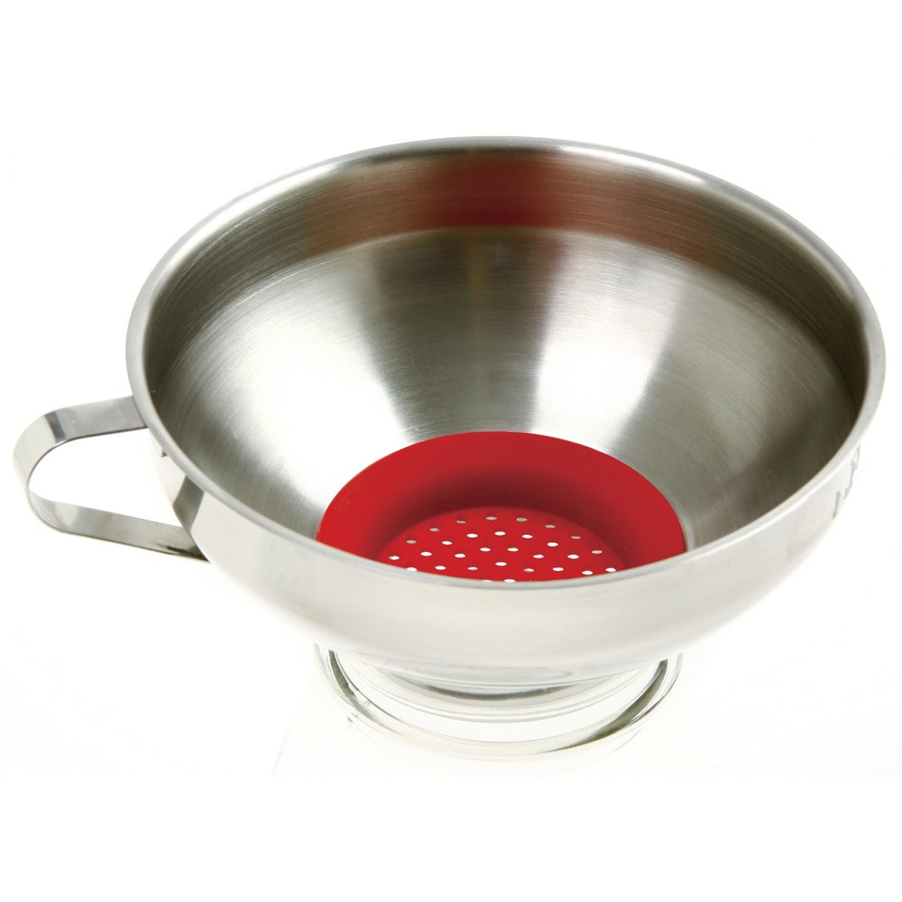 Norpro Stainless Steel Wide Mouth Funnel with Silicone Strainer