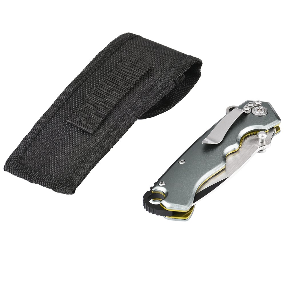 Virkech Spring Assisted Pocket Folding Knife 440C Full Edged Blade with Belt Cliper and Pouch,4.8-inch Closed