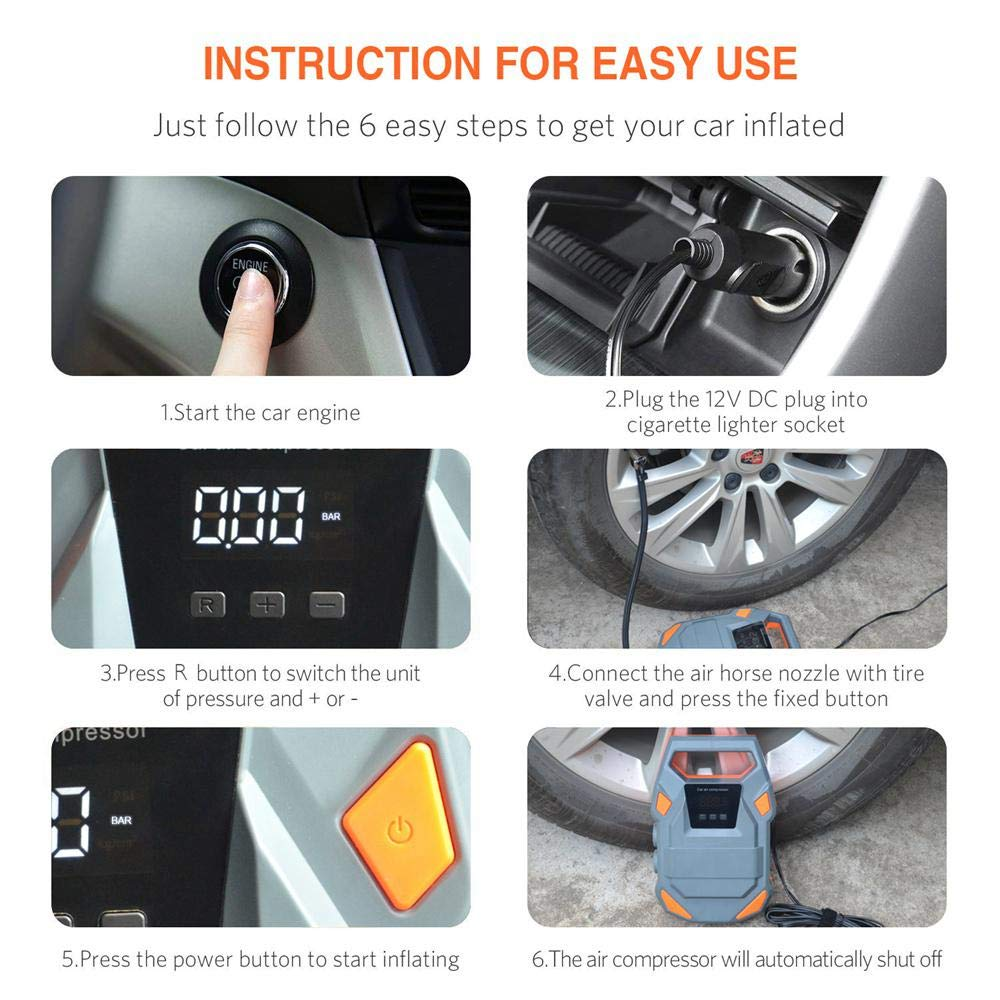 Digital 12V 150 PSI Car Air Compressor Pump with LED Light Goglor Tyre Inflator Backlit LCD Display and 3 Nozzle Adaptors Bicycle Motorcycle Balls Portable Automotive Air Pump For Car
