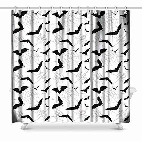 InterestPrint Halloween Bat, Halloween Spiders Web Bat and Spider's Web Black and White Halloween Art Digital Print Polyester Fabric Shower Curtain, 72 x 72 Inches