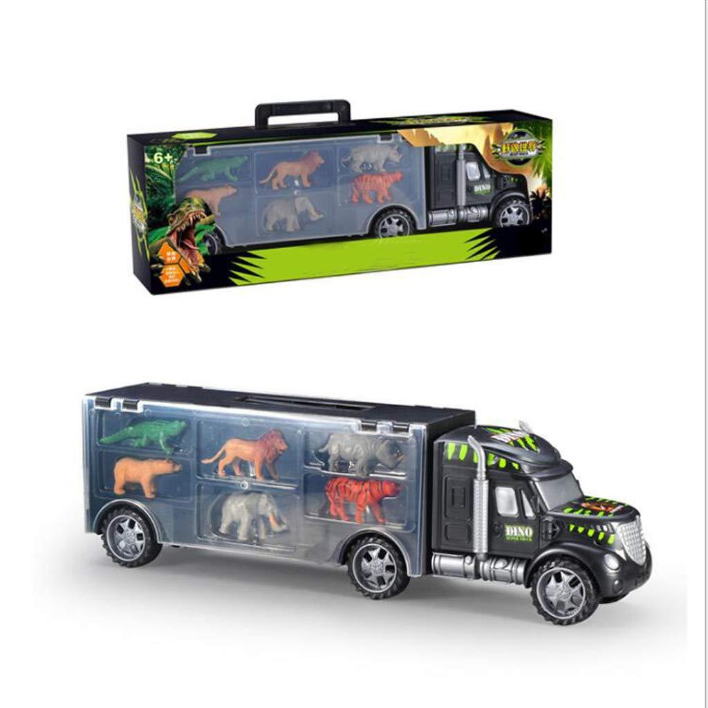 Transporte de animales Carrier Camión Juguete, Camiones de juguete, Transportador de animales para niños y niñas de 3 a 12 años (León, cocodrilo, rinoceronte, elefante, oso, tigre - 6 juguetes para a