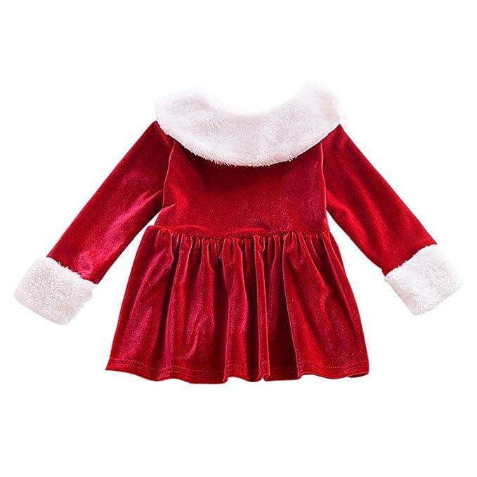 QUICKLYLY Vestidos Navidad Niña 18 Meses Bebe Invierno Manga Larga Princesa 0~24 Meses (