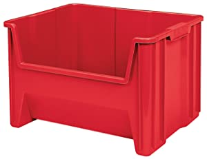 Akro-Mils 13017 Stak-N-Store Stacking Hopper Front Plastic Storage Bin, Red, Case of 3
