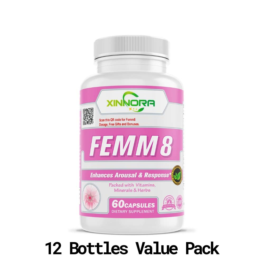 XINNORA Femm8 - Natural Female Sexual Enhancement & Libido Supplement for Women - Enhances Arousal & Response, Increases Stamina & Energy, Boosts Sex Drive, Better Sexual Health - 60 Caps x 12 BTL