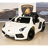 Lamborghini Aventador 12V Kids Ride On Battery Powered Wheels Car with 2.4GHz RC Remote White