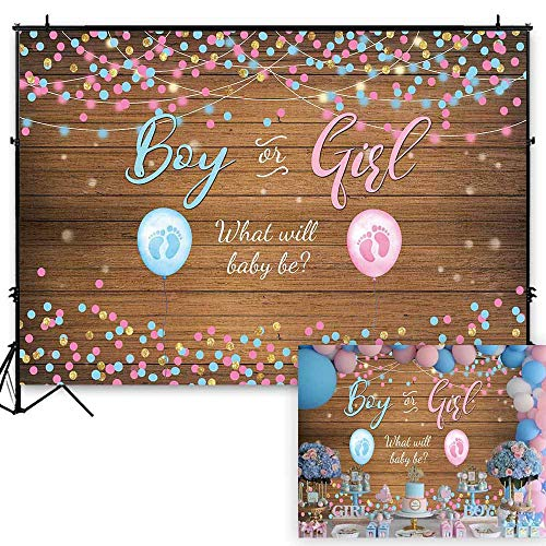 - Funnytree 7x5ft Rustic Wooden Gender Reveal Backdrop Girl or Boy Pink Blue Baby Shower Photography Background Balloon Golden Glitter Retro Wood Banner Cake Table Decoration Photo Booth Props