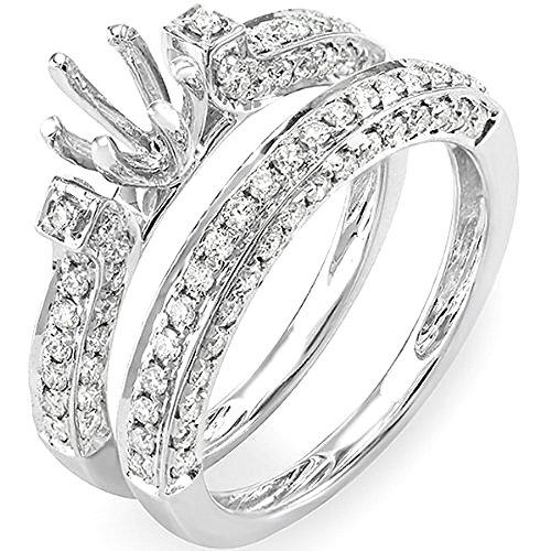 1.00 Carat (ctw) 14K White Gold Round Diamond Semi Mount Bridal Engagement Ring Set 1 - Diamond Semi Antique Mount Round