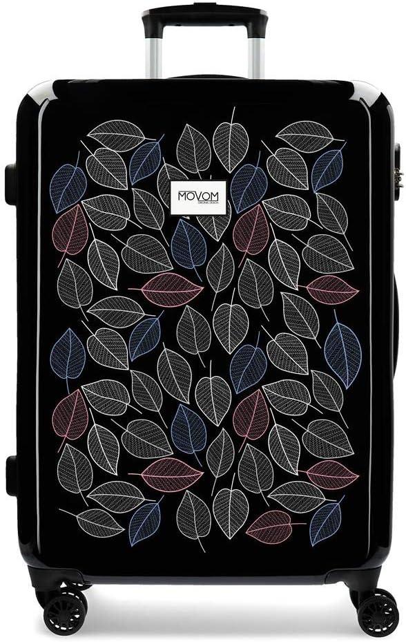 Enso Leaves Maleta Mediana Negro 48x68x26 cms Rígida ABS Cierre combinación 70L 3,7Kgs 4 Ruedas Dobles