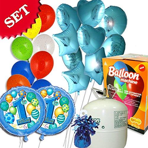 Ballongas-Set 1. Geburtstag Boy mit 50er Helium, 8 Luftballons, 11 Folieballons