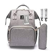 Diaper Tote Bag, HowiseAcc Nappy Changing Backpack Multi-Function Travel Backpack Organizer with Bottle Insulated Bags for Baby Care | Waterproof, Large Capacity, Stylish and Durable