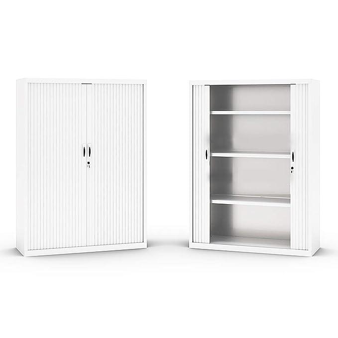 Armario metálico con puertas de persiana de 80x160x45 (ancho/alto/fondo) color blanco Ral 9003: Amazon.es: Oficina y papelería