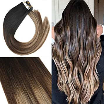 Youngsee 20inch 100% Remy Straight Tape in Hair Extensions Human Hair  Balayage Natural