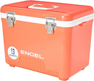 Engel UC13CR 13 Quart 18 Can Leak Proof Odor Resistant Insulated Cooler Drybox with Integrated Shoulder Strap, Coral