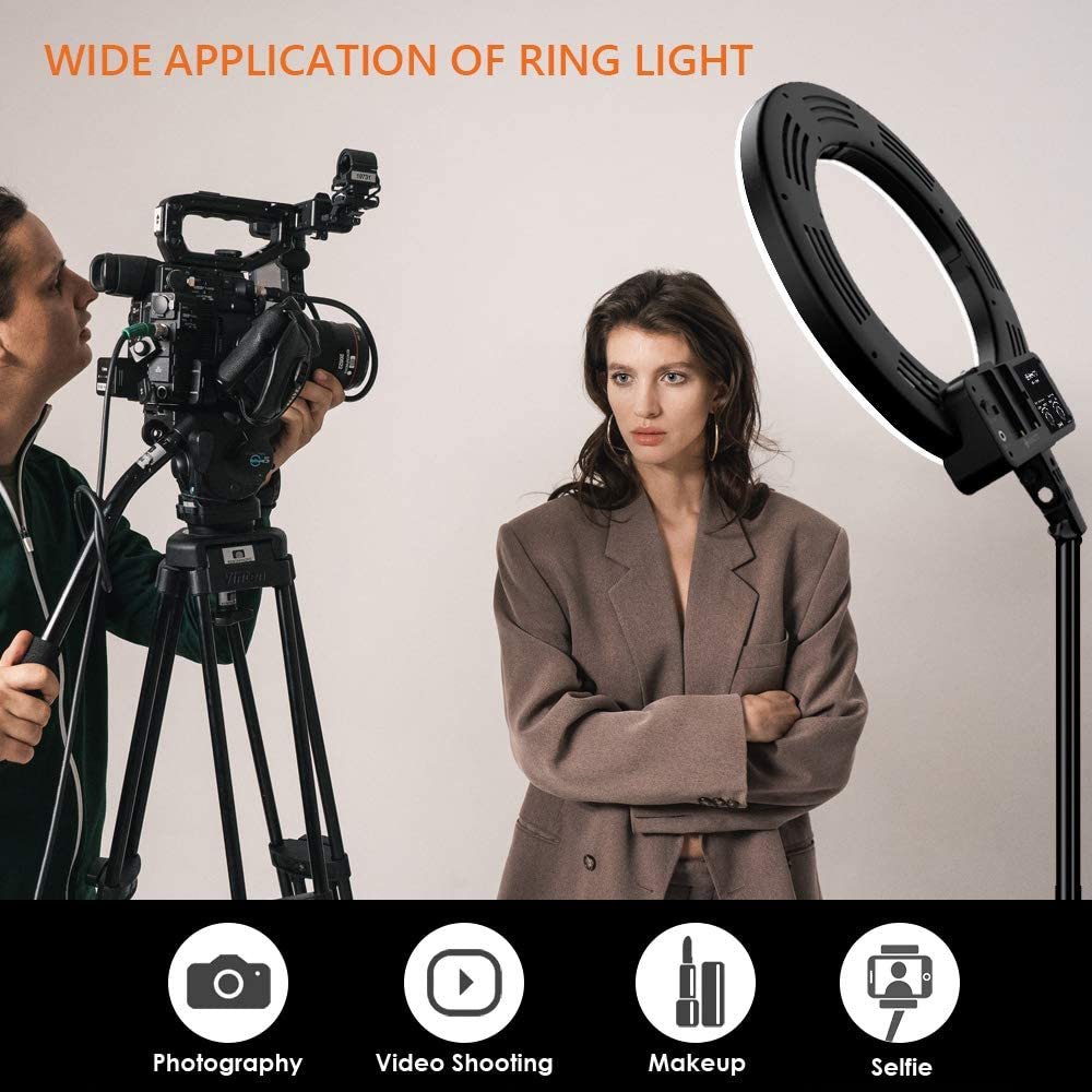 Makeup 3200k-5600k Ring Light with Stand and Phone Holder for Photography GEEKOTO 18-inch LED Ring Light for Phone and Camera 48W Video Shooting