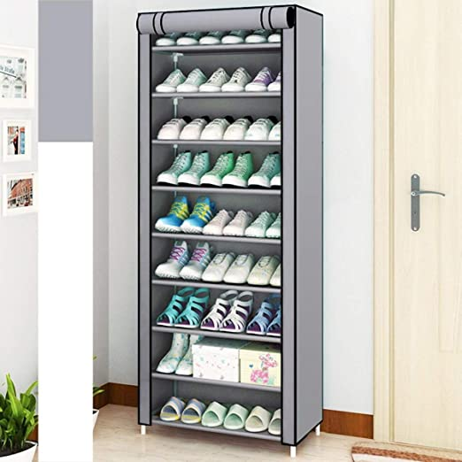 10 Tier  9 Shelf Shoe Storage Rack Organiser Stackable Dustproof Shelf