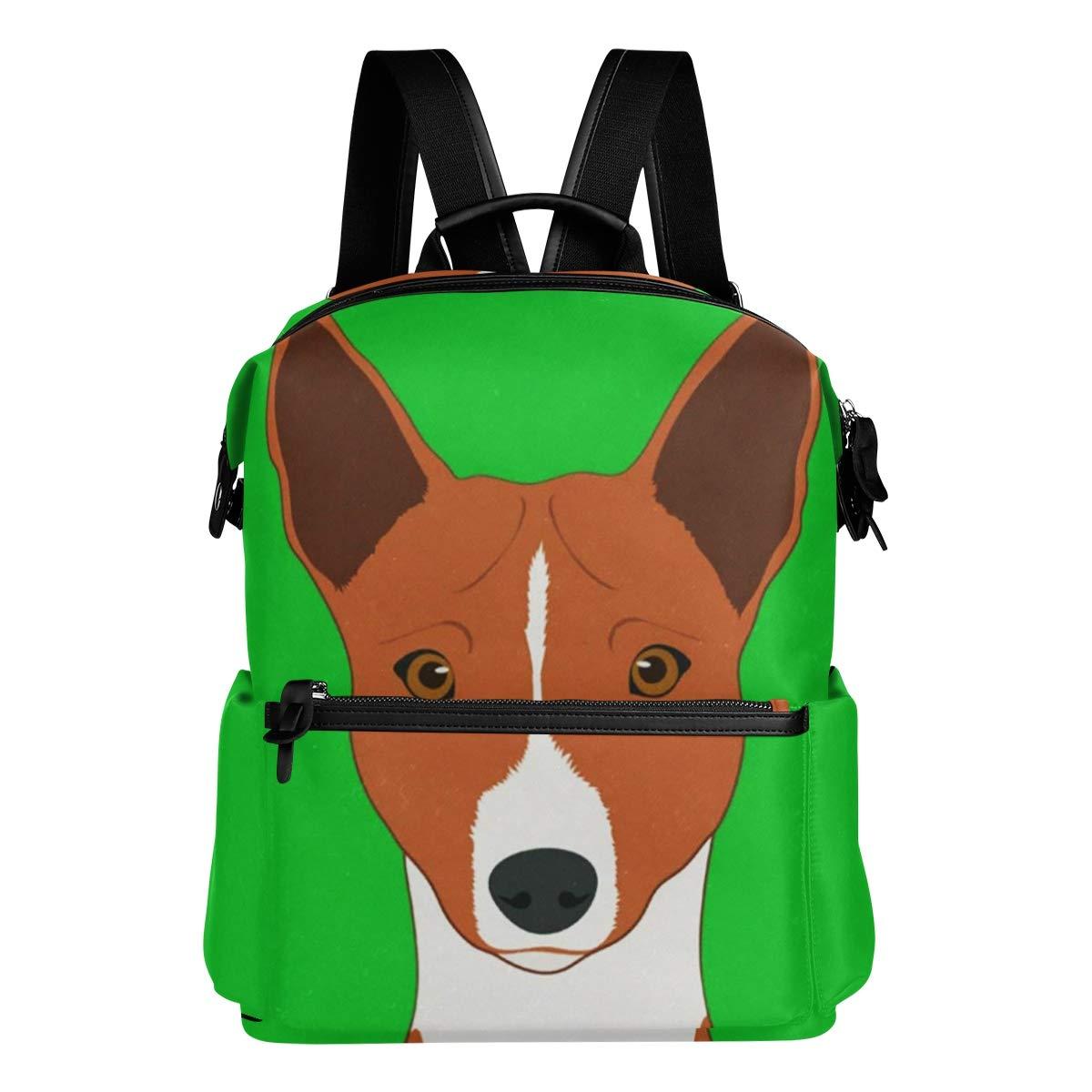 カジュアルバックパック カレッジバッグ Basenji 犬 バックパック 軽量 旅行 デイパック 学生 スクールバッグ ティーン ガールズ ボーイズ   B07JYSGGW6