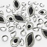 Formas mixtas abalorio de piedras brillantes de botones negro plateado para coser en manualidades abalorio costura para disfraz vestido de boda decoraciones 140pcs