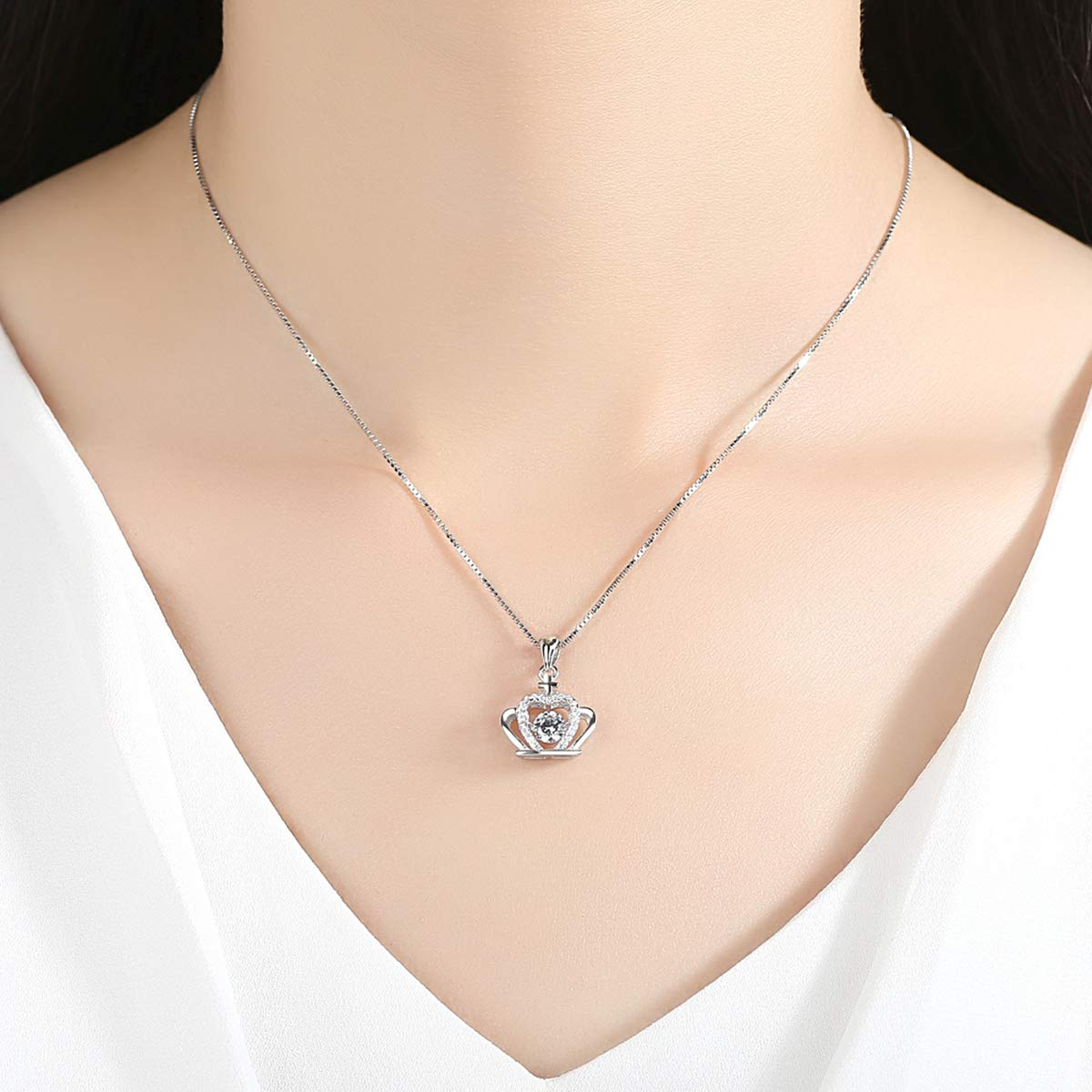 Heart Necklaces for Women,Dancing Diamond Halo Pendant Charms 925 Sterling Silver Dainty Blue Gold White Open Pendant Necklace for Teen Girls Girlfriend Mom Wife Daughter Friendship with Elegant Box