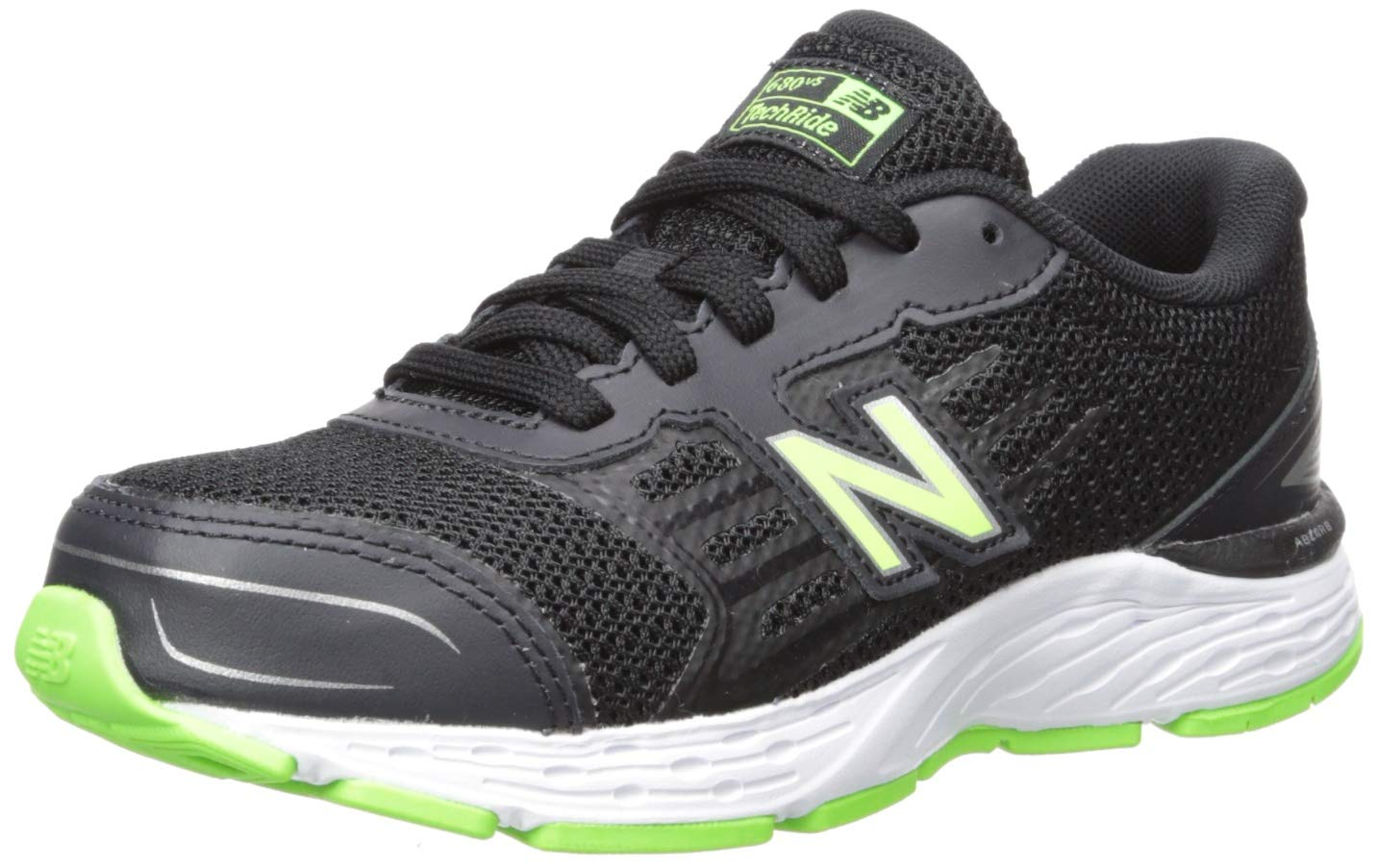 New Balance Boys' 680v5 Running Shoe, Black/RBG Green, 2 M US Little Kid
