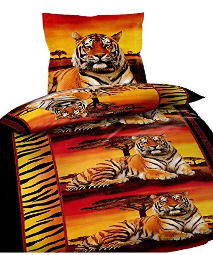 Leonado Vicenti 2 tlg. Bettwäsche 135 x 200 cm in orange/schwarz Tiger Sonnenuntergang aus Microfaser mit Reißverschluss