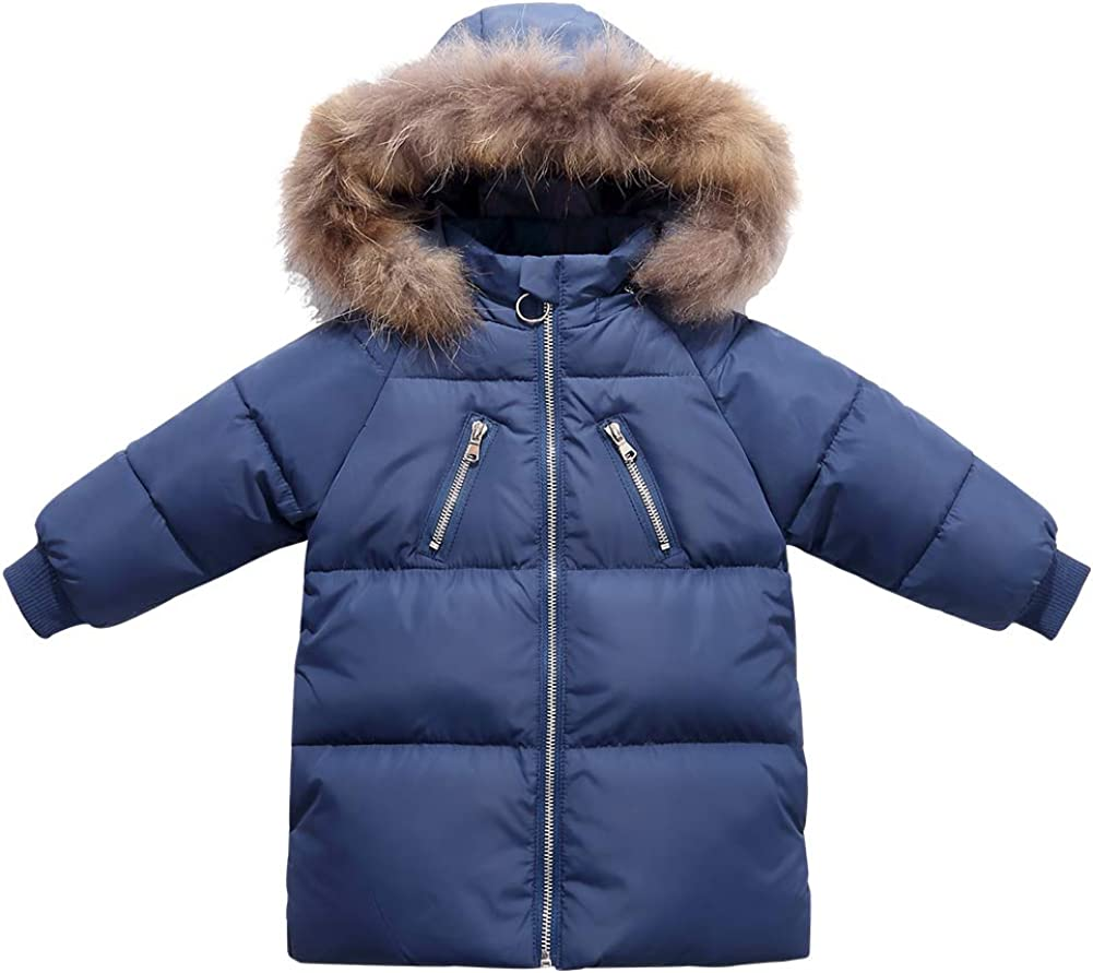 Happy Cherry Baby Girls Down Jacket Removable Fur Hooded Zipper Long DownCoat