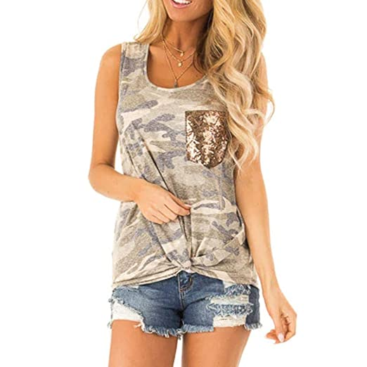 31a0b5f3e Sttech1 Women's Sleeveless Camouflage Print Sequin Pocket Vest T-Shirt Top  at Amazon Women's Clothing store: