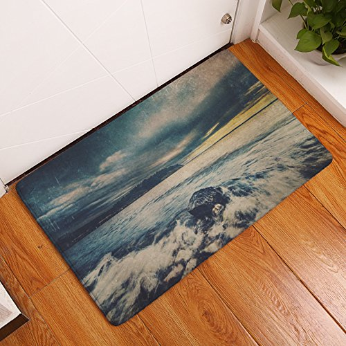 (YQ Park Sunset Seaside Entrance Door Mat Interior Floor Mat Absorbs Muddy Shoes, Pet Paws, and Wet Feet. Machine Washable)