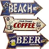 秋月貿易 エンボスプレート アロー レトロ調 (TO BEACH) アンティーク・ヴィンテージ・西海岸風・ブルー系 インテリア ブルー系 BEACH AK087900