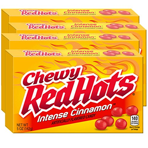Chewy Red Hots 5 oz.Theater Box - Case of 12 (Intense Cinnamon) -