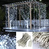 Flower Sea9 Cool White 9.8×9.8ft 300Led Window Curtain Icicle Lights Linkable Christmas Curtain String Fairy Wedding Led Lights for Weddings, Window Decorations,Outdoor Wall