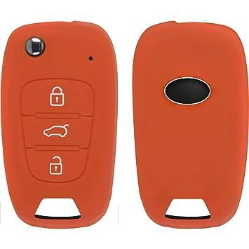 PhoneNatic Funda de Silicona para Mando de 3 Botones de KIA Sportage en Naranja Llave Plegable de 3-Key